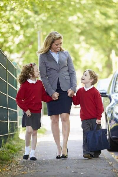 Career Woman in Heels with Kids