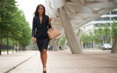 Career Woman in Heels Walking to Work