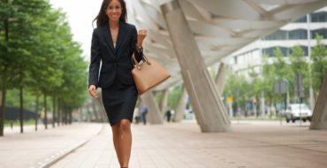 Career Woman in Heels Walking to Work