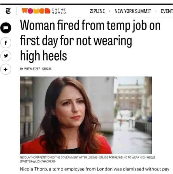 Nicola Thorp Fired For Not Wearing Heels at Work