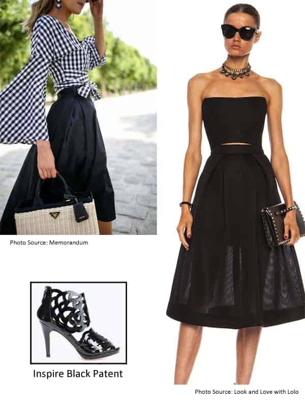 Evening Black Skirt with Inspire Black Patent Bootie