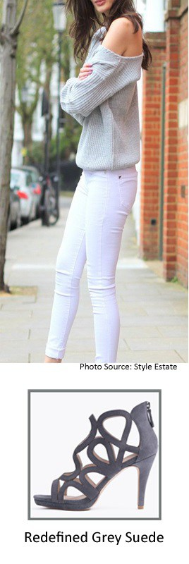 White Denim Jeans with Redefined Grey Bootie