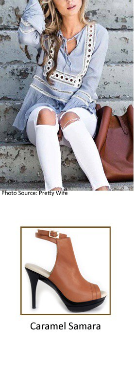 White Denim Jeans with Samara Caramel Bootie