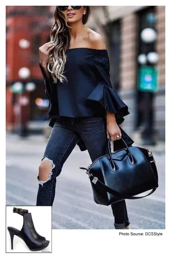 Samara Black Bootie with Black Blouse