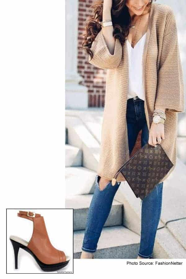 Samara Caramel Bootie with Knit Sweater