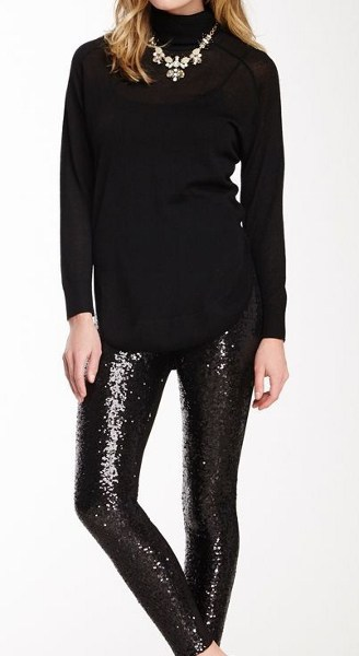Holiday Party Dresses & Outfits - Black Top with Black Sequin Leggings