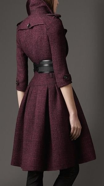 Holiday Party Dresses & Outfits - Plum Dress-Jacket with Black Tights