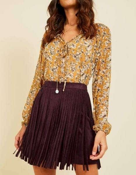 Holiday Party Dresses & Outfits - Plum Skirt with Gold Blouse
