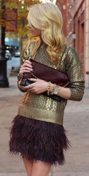 Holiday Party Dresses & Outfits - Plum Skirt with Gold Sequin Sweater